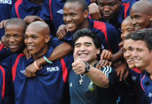 Maradona with South African soccer players
